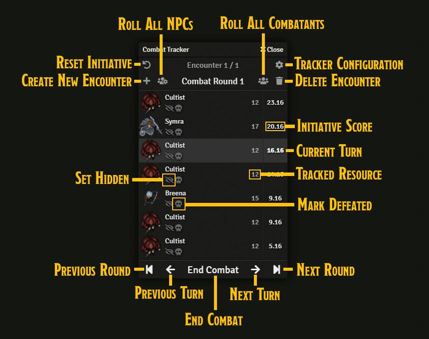 The Combat Tracker Controls
