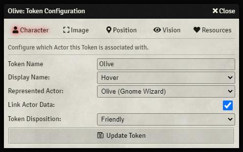 Token Configuration - Character Tab