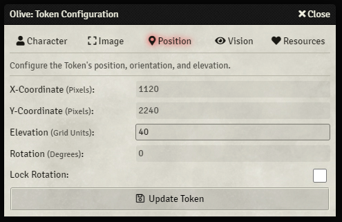 Token Configuration - Position Tab