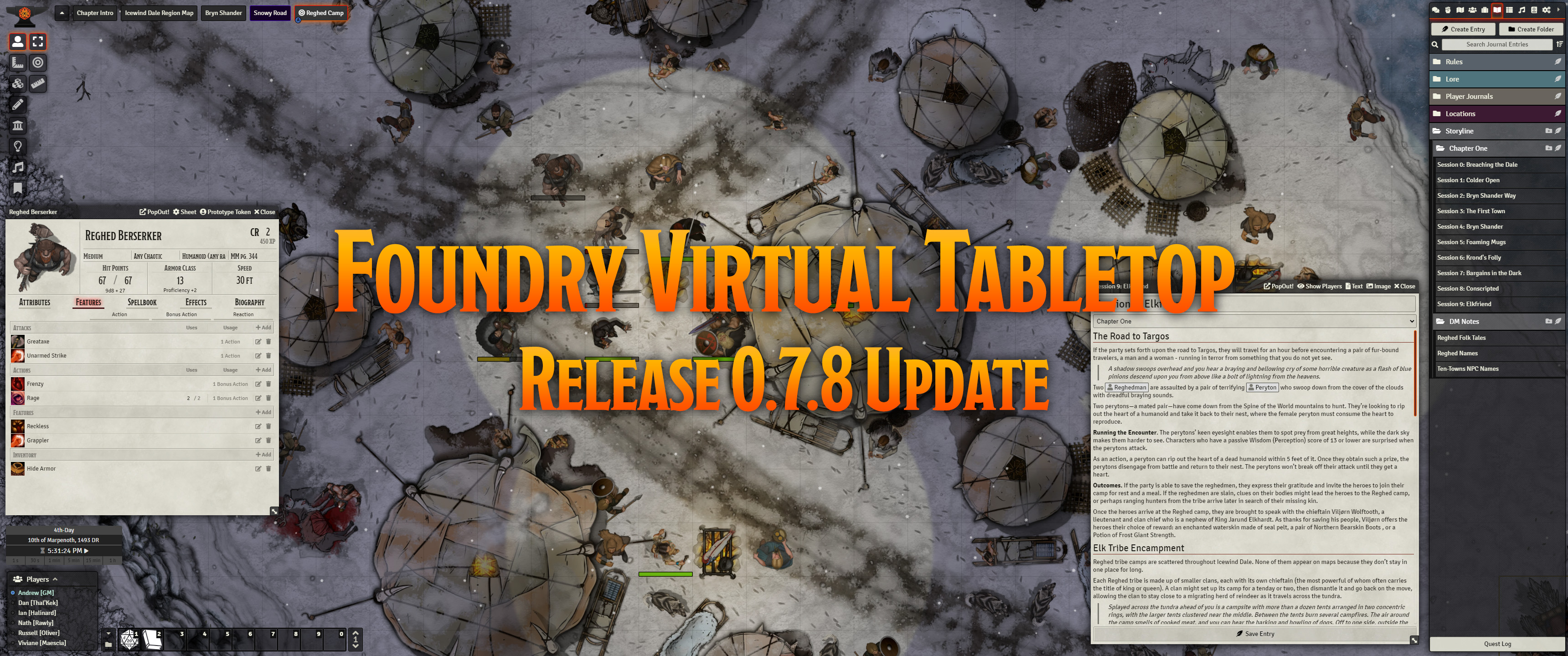 Release Notes for the Foundry Virtual Tabletop 0.7.8 update version