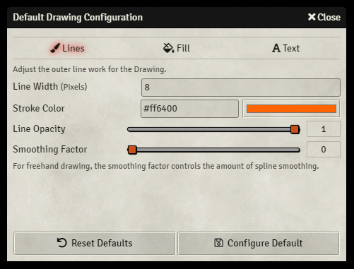 Drawing Tools - Default Settings