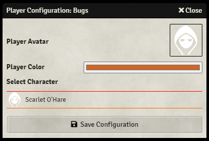 Player Configuration Screen