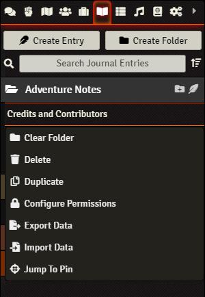 Journals - Context Menu