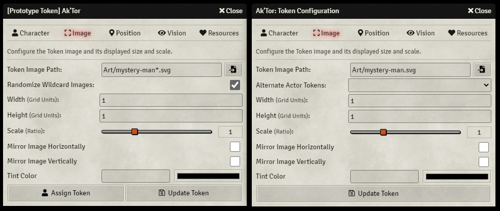 Token Configuration - Image Tab