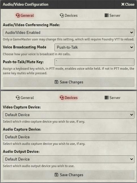 Audio Visual Configuration